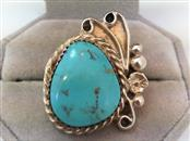 Lady's Native American Turquoise and Silver 925 Ring 10.6g Size 7
